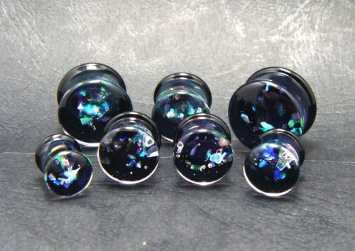 他の写真1: CLOVER GLASS OPAL PLUGS クローバーグラス オパール プラグ ガラスピアス ボディピアス ハンドメイド 手作り メンズ レディース