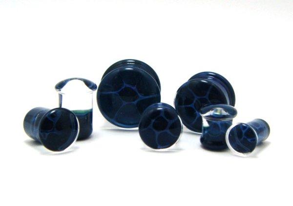 画像1: CLOVER GLASS HONEYCOMB PLUGS/BL ガラス ボディピアス ハンドメイド プラグ メンズ レディース (1)