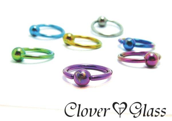 画像1: CLOVER GLASS Titanium Captive Bead Ring 14Ga CG-T-CBR14 クローバーグラス ボディピアス キャプティブビーズリング CBR メンズ レディース