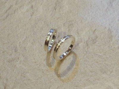 画像1: CLOVER Original Cross Line Pair Rings/Silver925 ペアリング